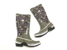 SOREL Rubber Tall Rain Mud Waterproof Boots Purple Grey Womens Size 8