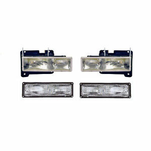 4 Piece Composite Headlights w/ Brackets & Bulbs & Park Lamps Fits Chevrolet GMC