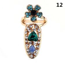 1Pc Lady's Bowknot Nail Ring Charming Crown Crystal Finger Nail Art Ring