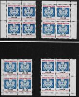 US Scott #O129A, Blocks of 4 1985 Official 14c FVF MNH ALL 4 CORNERS