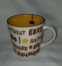 2007 Starbucks Halloween Trick or Treat Mug Coffee Spider Orange White 16oz EUC