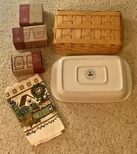 "Longaberger Serving Tray Basket, Pottery ~13"" x 9"" Rectangle & several assec."