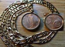 "2007 IRISH EURO PENCE COPPER MINT COIN PENDANT on a 24"" 18K Gold Filled Chain"
