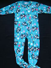 NWT Girls Footed Fleece Pajamas Size 4 5 Blue Panda Winter Pjs Jammies XS NEW