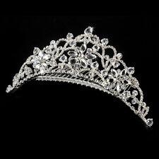 Silver Swarovski Crystal Floral Rhinestone Bridal Tiara Comb Wedding Headpiece