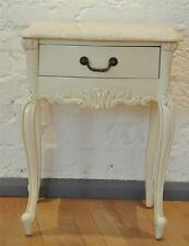 MAHOGANY FRENCH  ORNATE SHABBY CHIC CREAM ANTIQUE WHITE TABLE MARBLE SIDE TABLE