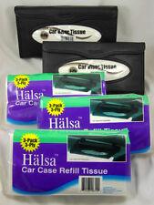 (2) TEMPO CAR VISOR TISSUE HOLDERS AND (3) HALSA CAR CASE REFILL TISSUES