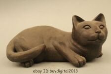 Chinese Fengshui Black Bronze Cat pussycat pussy Animal Statue sculpture