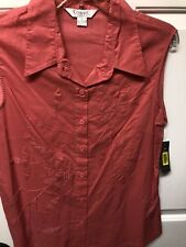 Conrad C Colllection Embroidered Button down Blouse Red/Coral Sz 12 New w Tags.