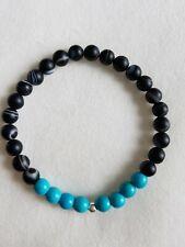 Black Agate, blue turquoise, & sterling Silver Bead Bracelet 6mm
