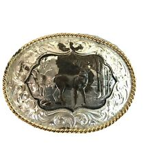Montana Silversmith Oval Belt Buckle White Tail Deer Silver Plated