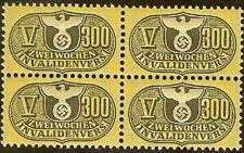 Stamp Germany Revenue Block WW2 3rd Reich War Era Invalid V 300 MNH