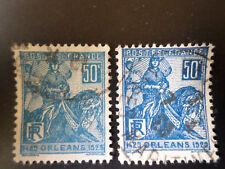France 1929 Jeanne d'Arc Yvert n° 257 oblitéré les 2 nuances