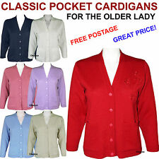 New Ladies Blue Red Cardigan With Pockets For Older Women Elderly Woman Old
