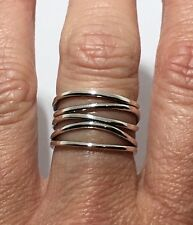 Wide 5 Band Ring SOLID 925 Sterling Silver Sz 6