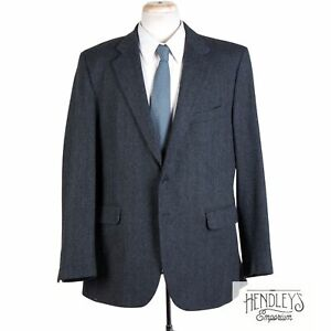 CHARLES TYRWHITT Sport Coat 44 L in Air Force Blue Wool-Cashmere English Tweed