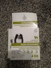 BAYER QUAD DEWORMER 2-25 LBS SMALL DOGS  4 CHEWABLE TABLETS  EXP 22+