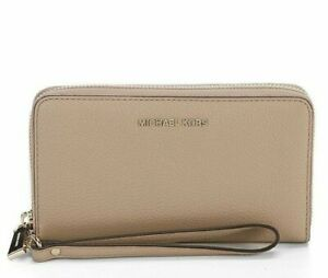 Michael Kors Mercer Women's Pebbled Leather Smartphone Wristlet Purse - Truffle
