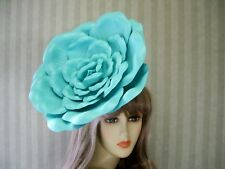"Aqua Rose Fascinator, 12"" Big Rose Hat, WEdding, Tea, Halloween, Kentucky Derby"