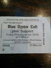 1975 Blue Oyster Cult Concert Ticket Stub Manchester Free Trade Hall 21/11/75