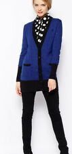 GORGEOUS FRED PERRY / AMY WINEHOUSE BLUE BLACK LONGLINE CARDIGAN SIZE 16