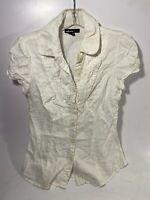 TAKARA Lightweight PUCKERED RUFFLE Trim Button-Up Shirt/Top Junior's Sz M