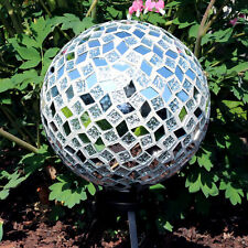 Sunnydaze Round Mirrored Diamond Mosaic Outdoor Garden Gazing Globe Ball - 10""