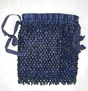 Vintage / Antique Iridescent Beaded Drawstring Bag / Purse