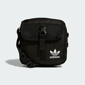 ADIDAS Original TREFOIL Festival Crossbody Mini Travel BLACK Men ZIP Bag NEW NWT