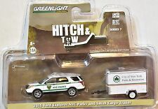 GREENLIGHT HITCH & TOW 2015 FORD EXPLORER NYC PARKS AND SMALL CARGO TRAILER