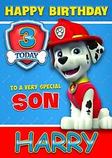 PAW PATROL - MARSHALL PERSONALISED Birthday Card AGE Son Brother Nephew Grandson