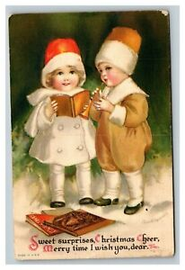 Vintage 1910's Ellen Clapsaddle Wolf Publishing Christmas Postcard Cute Children