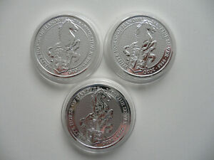 3x 2 Oz Silber The Queen's Beasts - in Kapsel TOP