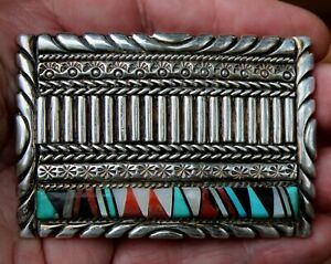 Old Zuni Handmade Sterling Silver Belt Buckle Turquoise Onyx Coral Shell Inlay