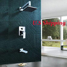 Wall Mounted Chrome Rainfall Bathroom Shower Faucet Set Bathtub Spout Mixe Tap