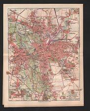Landkarte city map 1908: Stadtplan: LEIPZIG MIT DEN VORORTEN. Völkerschlacht