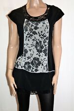 New Cover Brand Black Cream Lace Tunic Top Size 10 BNWT #TO98
