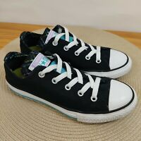Converse All Star Double Tongue Black Blue Purple  Low Top Shoes Sneakers Size 2