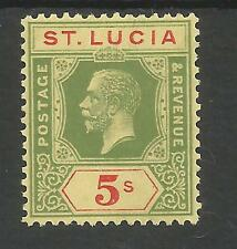 ST LUCIA  SG105 THE 1923 GV 5/- GREEN & PALE RED/yellow FRESH MINT CAT £60