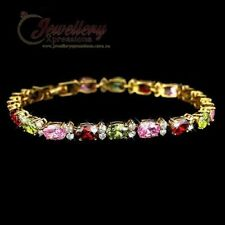 Yellow Gold Plated Multi Colour Oval Cut CZ Bracelet B025