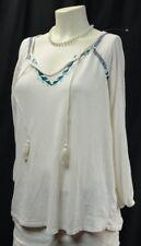 Lucky Brand chic top shirt knit shabby tribal peasant boho blouse 3/4 slv XL NEW