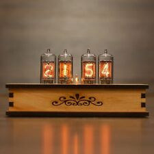 Nixie Tube Clock 4x Z573m Nixie Clock Vintage Retro Desk Table Clock Wooden Case