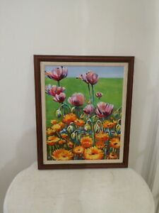 "Original Framed Oil On Board ""Poppies & Marrigolds"" by Bernard Williams, signed."
