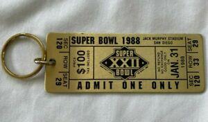 1988 SUPER BOWL XXII * METAL REPLICA ADMIT ONE TICKET KEY CHAIN REDSKINS BRONCOS