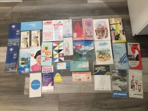 Large lot of airline printed matter, timetables,route maps,menus,pamphlets,tags