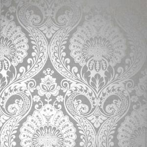 Arthouse Luxe Damask Silver Metallic Wallpaper 906609