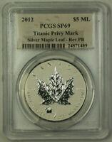 2012 Canada 1 Oz Maple Leaf $5 Silver PCGS SP-69 Titanic Privy Reverse Proof