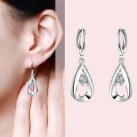 Fashion Crystal Elegant 925 Silver Women Zircon Ear Drop Dangle Hoop Earrings