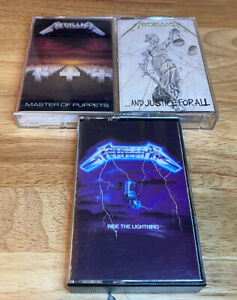 Lot of 3 Metallic cassette tapes Master of Puppets Ride Lightning Justice All