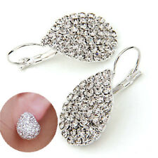 Elegant Womens Full Crystal Teardrop Silver Hoop Dangle Earrings Fashion Jewelry